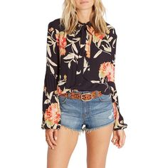 Women's Billabong Birds On High Print Tie Neck Blouse ($50) ❤ liked on Polyvore featuring tops, blouses, off black, print top, necktie blouse, tie neck top, neck-tie and billabong