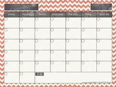 Editable Calendar- coral chevron- instant download