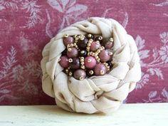 blooming flower fabric brooch