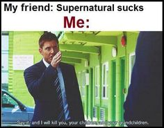 Dean Winchester! lol #Supernatural #sorrynotsorry < I'm sure that we could find a more appropriate picture of Dean giving the finger instead.