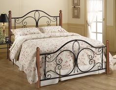 Hillsdale Furniture 1422BQP Milwaukee Wood Post Bed - Queen - without Rails