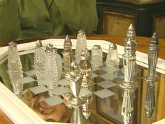Chess Set...Old Mirror and Salt & Pepper Shakers