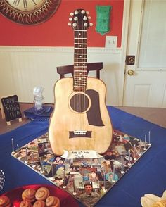 3D Standing Acoustic Guitar cake by Cakes by Anna in Alpharetta, Ga