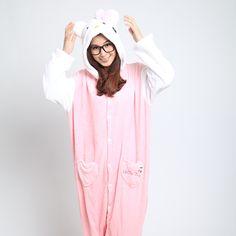Pink Cat Onesies Hoodie Pajamas Animal Kigurumi | PajamasBuy