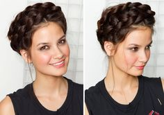 A braided crown like this is the answer to second day hair.