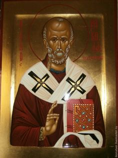 Купить икона святителя Николая - золотой, Икона ручной работы, авторская работа, святой образ