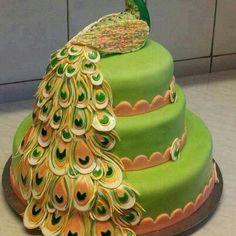 #Peacock #wedding #cake #peacockwedding
