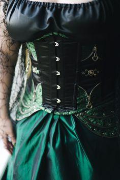 Green corset wedding dress