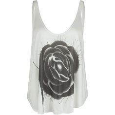 RVCA Ratty Rose Womens Tank ($20) ❤ liked on Polyvore featuring tops, shirts, tank tops, tanks, blusas, white, loose fitting tank tops, loose white shirt, cut loose shirt and loose white tank