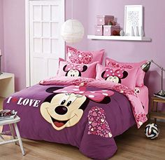 Cartoon Pattern Bedding Set Disney Mickey Minnie Quilt Cover Bed Sheet Polyester Comforter Cover flat Sheet Pillowcase I Love U ** You can find out more details at the link of the image. Comforter Cover, Bed Duvet Covers, Duvet Cover Sets, Bedroom Decor For Women, Girls Bedroom, Twin Size Bed Sets, Minnie Mouse Bedding, Classy Living Room, Kids Bedding Sets