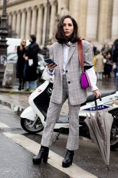 Paris Fashion Week, Tartan suit. Classic Country Gents style with a feminine twist.