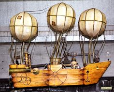 Steampunk Party Airship Print At Home by FrolicParties on Etsy