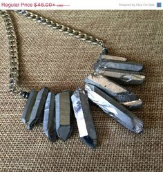 Crystal Point Bib Necklace in Titanium Silver  by CrystalCompass