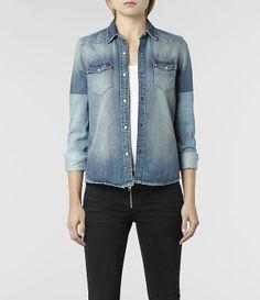 $175 Womens Kay Denim Shirt (Indigo Bleach)   ALLSAINTS.com