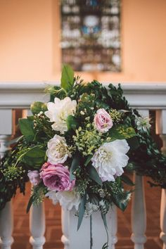 Floral design by A to Zinnias (alter swag) Photo By Krista Turner Photography