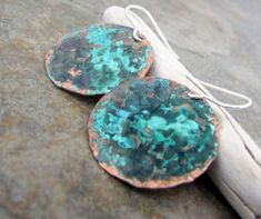 Rustic Verdigris Copper Earrings Patina Copper by SilverSmack
