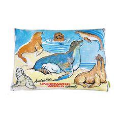 upcycled tea towel cushion australian sealife by hunted and stuffed | notonthehighstreet.com