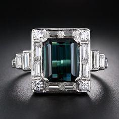 diamond+and+green+tourmaline+ring | Green Tourmaline Platinum and Diamond Ring - 30-1-5373 - Lang Antiques