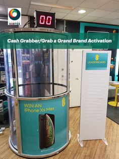 This #CashGrabber, #GrabAGrand, #TokenCollector #CrystalMazeGame has been customised for a #BrandActivation Event in a retail store. The Cash Grabber was filled with tokens to collect for the chance to win an iphone. Players had 30 seconds to collect as many tokens as they could.   The Crystal Maze Token Game was hired with a branded #leaderboard to show the top scores on magnetic strips. The Leaderboard is perfect for displaying a logo or small design at the top.   #BrandActivationIdeas