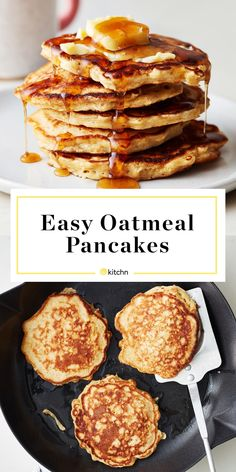 oatmeal pancake double the sugar and sub dark brown sugar for granulated + add cup of chocolate chips for the best chocolate chip oatmeal cookie pancakes. serve with lots of butter and whipped cream Oatmeal Pancakes Easy, Oat Muffins, Healthy Oat Pancakes, Simple Oatmeal Pancake Recipe, Pancakes With Oats, Oatmeal Breakfast Recipes, Skinny Pancakes, Rolled Oats Recipe, Sugar Free Pancakes