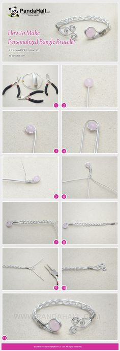 "Make pretty wire-wrap Bangle Bracelet. For more DIY jewellery projects, please see my board ""Handmade Jewellery"". :)"