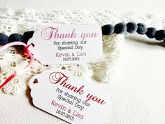 Personalized Thank you hang tags White Hang Tag by EVlovesDesign