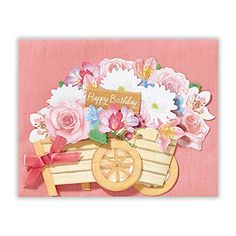 Birthday Floral Wagon Decorative Pop Up Greeting Card Nih…