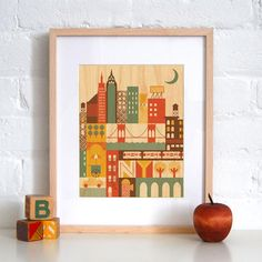 New York, Wood Print, Petit Collage, $25