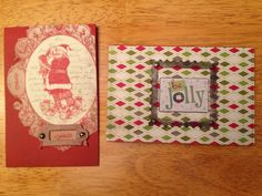 Christmas cards 2 ways, Santa, red, jolly, patterned