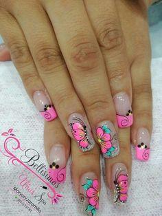 Fingernail Designs, New Nail Designs, French Nail Designs, Butterfly Nail Art, Flower Nail Art, Pretty Nail Art, Beautiful Nail Art, Fabulous Nails, Gorgeous Nails