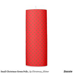 Small Christmas Green Polka dots on Red Pillar Candle Christmas Candles, Christmas Holidays, Pillar Candles, Candle Holders, Polka Dots, Lights, Nice, Green, Design