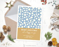 Printable Modern Snow Christmas Card - Holiday Card - 5 x7 - Do it yourself Customizable Printable Christmas Card by TheSpringRabbit on Etsy