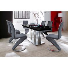 Massimo Extendable Black Glass Table With 4 Chairs 160 to 200cm