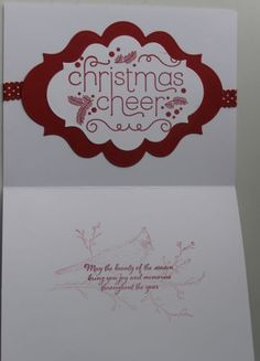 Inside of Merry card all Stampin' Up! products except Spellbinder dies.  Beauty of the Season & Cheerful Christmas stamp sets