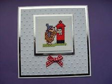 HAND MADE COMPLETED CROSS STITCH CARDS HEDGEHOG