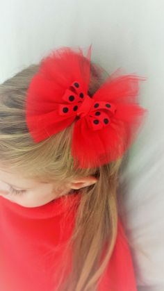 Tulle Lady Bug Bow Clip by TeensyThings on Etsy, $3.00