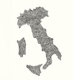 Lettering Map of Italy