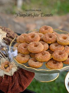 Fall flavors come together in these gluten-free pumpkin spice donuts. They are easy and delicious. These are the perfect treats to serve at Halloween. Gluten Free Deserts, Gluten Free Donuts, Gluten Free Sweets, Gluten Free Pumpkin, Gluten Free Breakfasts, Gluten Free Cakes, Gluten Free Cooking, Pumpkin Recipes, Gluten Free Recipes
