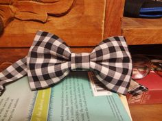 Pre-Tied Bowtie Black and White Gingham by BowMeAwayByAlexandra on Etsy