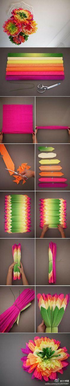 layered tissue paper flower    #DIY #crafty