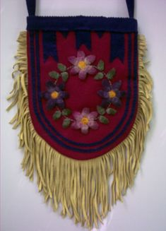 Small bag decorated with dyed porcupine quills and beads  Metis?