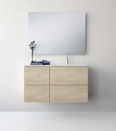 UNIBAÑO-Pack207-Baño Mueble de baño con encimera de 100cm y mueble portalavabo 2 cajones.Espejo de baño. PVP Recomendado 1230€