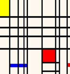 DE STIJL. geometrische vlakken, horizontale en verticale lijnen, primaire kleuren. Onpersoonlijk.
