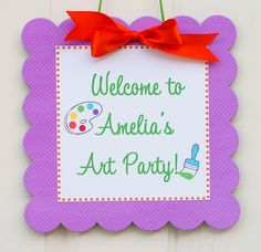 The ART Party - Coordinate Door Sign from Mary Had a Little Party. $14.00, via Etsy.