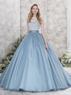White lace blue blue gown