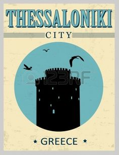 Illustration of White Tower from Thessaloniki in vitage style poster, vector illustration vector art, clipart and stock vectors. Thessaloniki, Macedonia Greece, Beautiful Posters, Travel Posters, Tower, City, Illustration, Postcards, Europe
