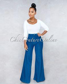 12ee753ef681 Chic Couture Online - Sahana Blue Denim High Waist Wide Leg Pants Wide  Pants Outfit