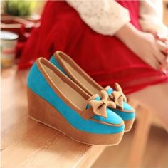 cute blue shoes with brown bow