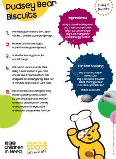 It's time to get your cooking caps on with these recipes to help you create your very own Children in Need cake stall. Sensory Activities Toddlers, Preschool Activities, Toddler Crafts, Preschool Crafts, Children In Need Cakes, Brownies Activities, Bear Crafts, Red Nose Day, Baking With Kids
