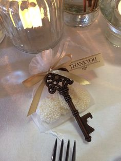 Vintage Wedding favors bonbonniere - antique style key bottle opener & chocolate